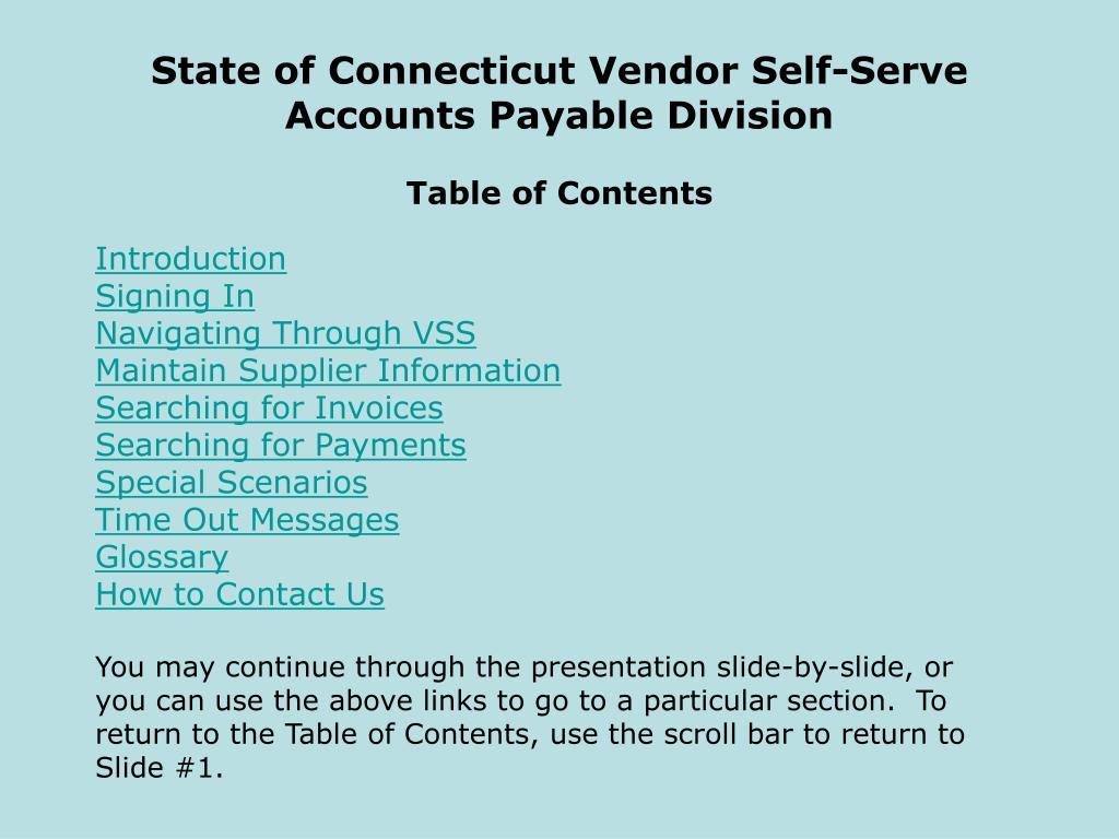 State of Connecticut Vendor Self-Serve