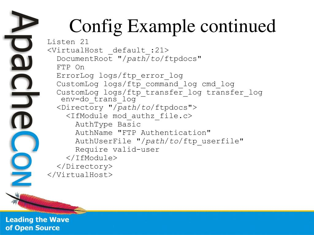 Config Example continued