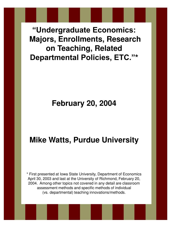 """""""Undergraduate Economics:"""