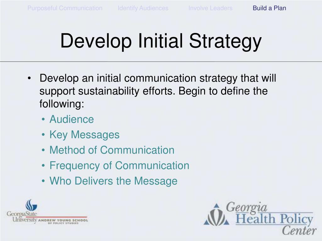 Develop Initial Strategy
