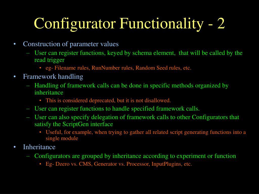 Configurator Functionality - 2
