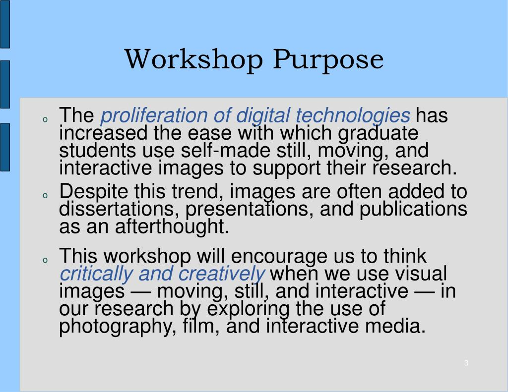 Workshop Purpose