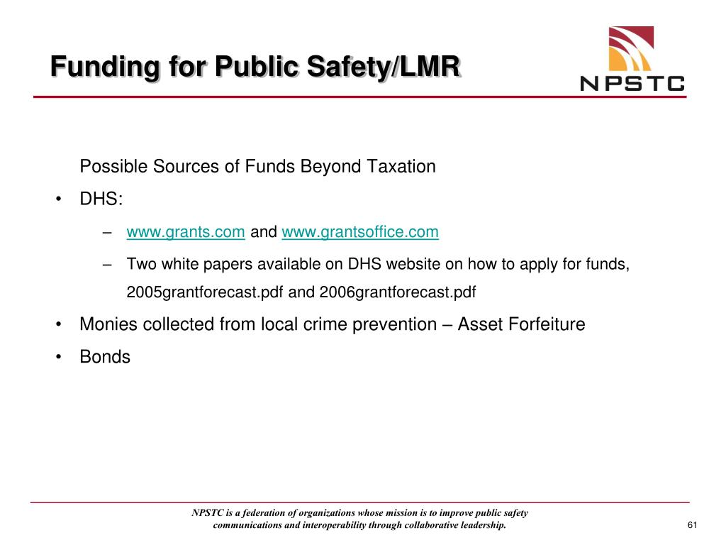 Funding for Public Safety/LMR