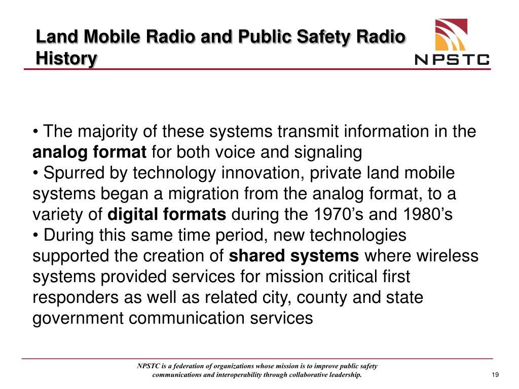 Land Mobile Radio and Public Safety Radio History