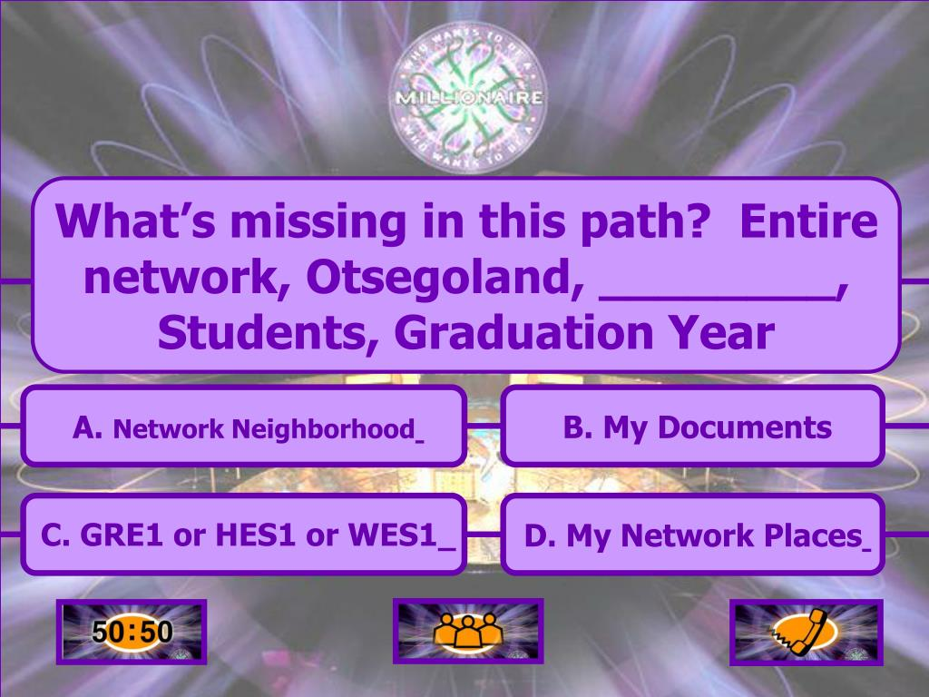 What's missing in this path?  Entire network, Otsegoland, ________, Students, Graduation Year