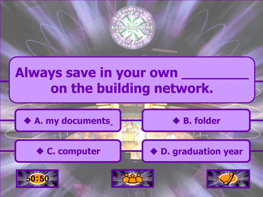 Always save in your own ________ on the building network.