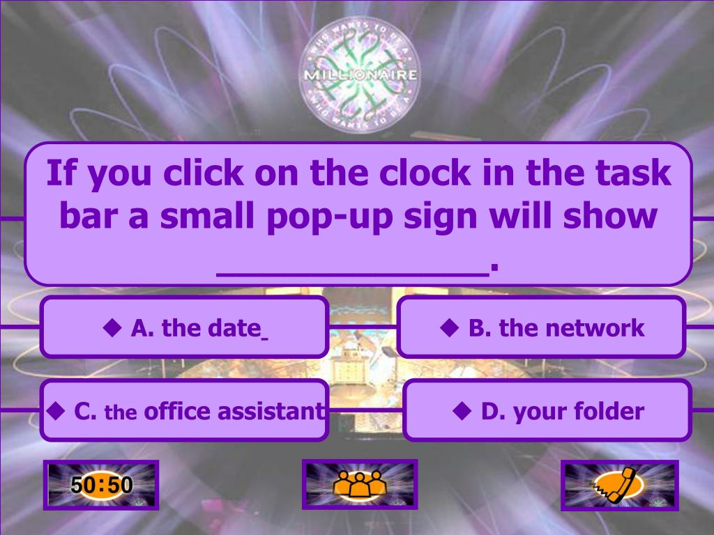 If you click on the clock in the task bar a small pop-up sign will show ____________.
