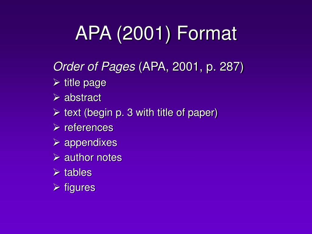 APA (2001) Format
