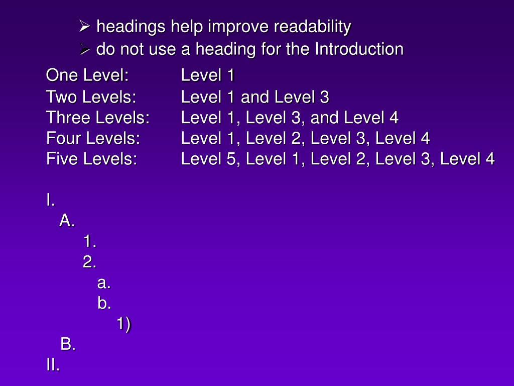 headings help improve readability