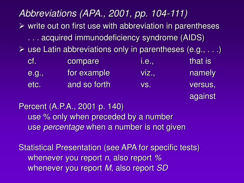 Abbreviations (APA., 2001, pp. 104-111)
