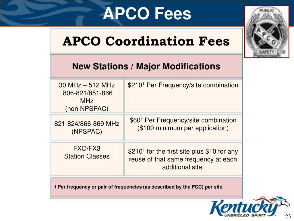 APCO Fees