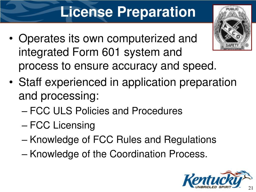 License Preparation
