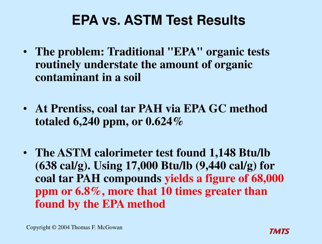EPA vs. ASTM Test Results