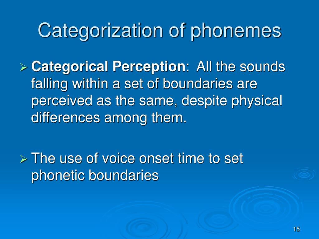 Categorization of phonemes