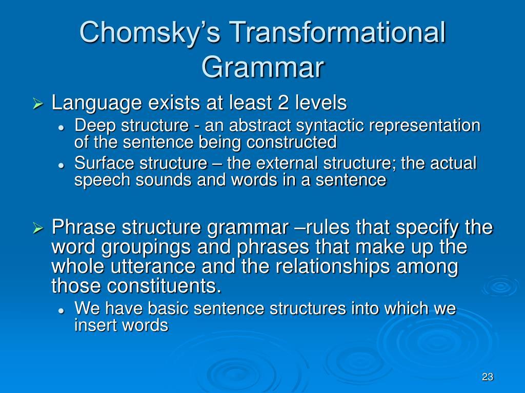 Chomsky's Transformational Grammar