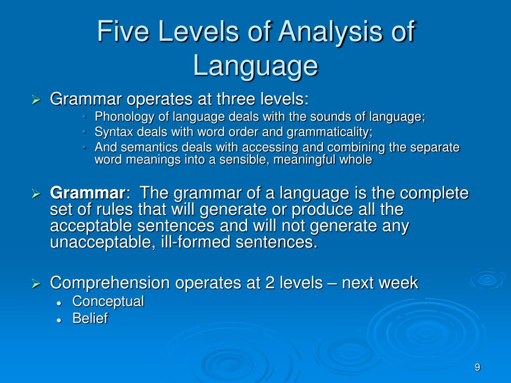 Five Levels of Analysis of Language