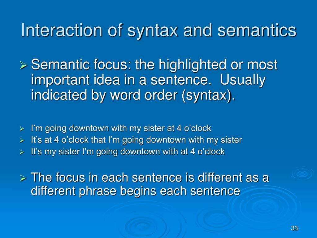 Interaction of syntax and semantics