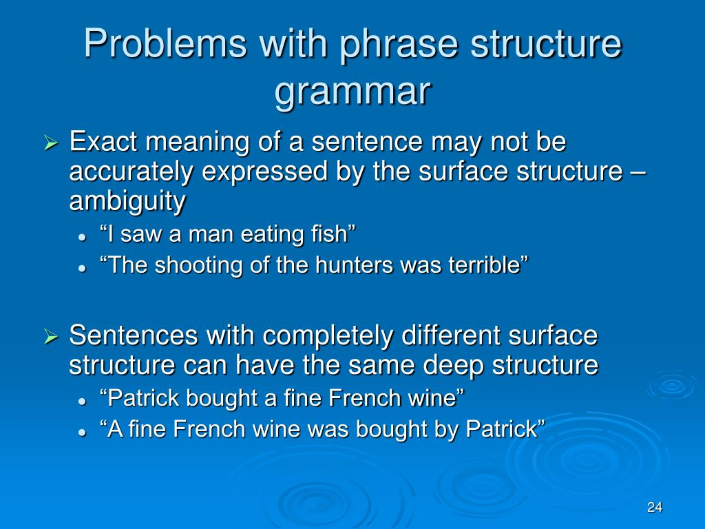 Problems with phrase structure grammar