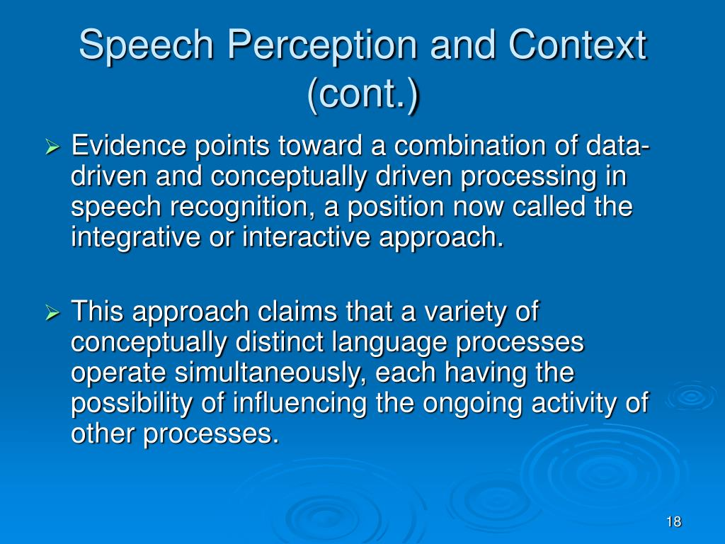Speech Perception and Context (cont.)