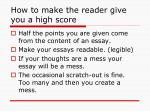 how to make the reader give you a high score