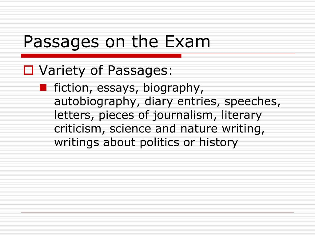 Passages on the Exam