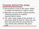 purpose behind this essay
