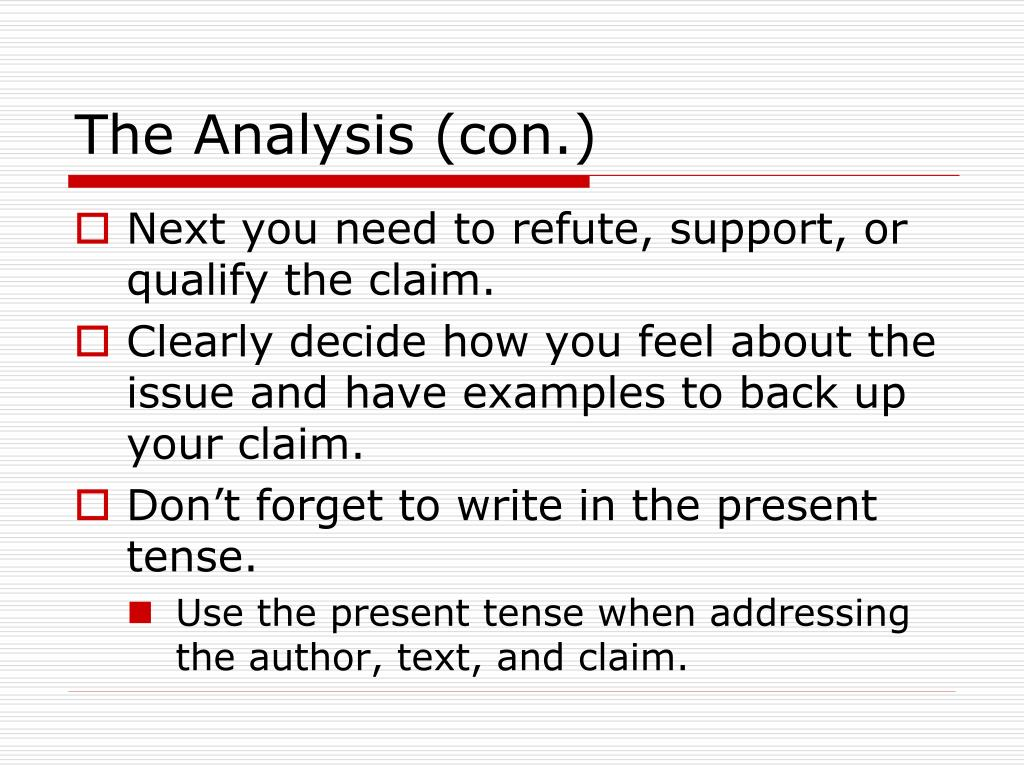 The Analysis (con.)