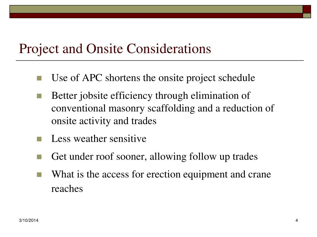 Project and Onsite Considerations