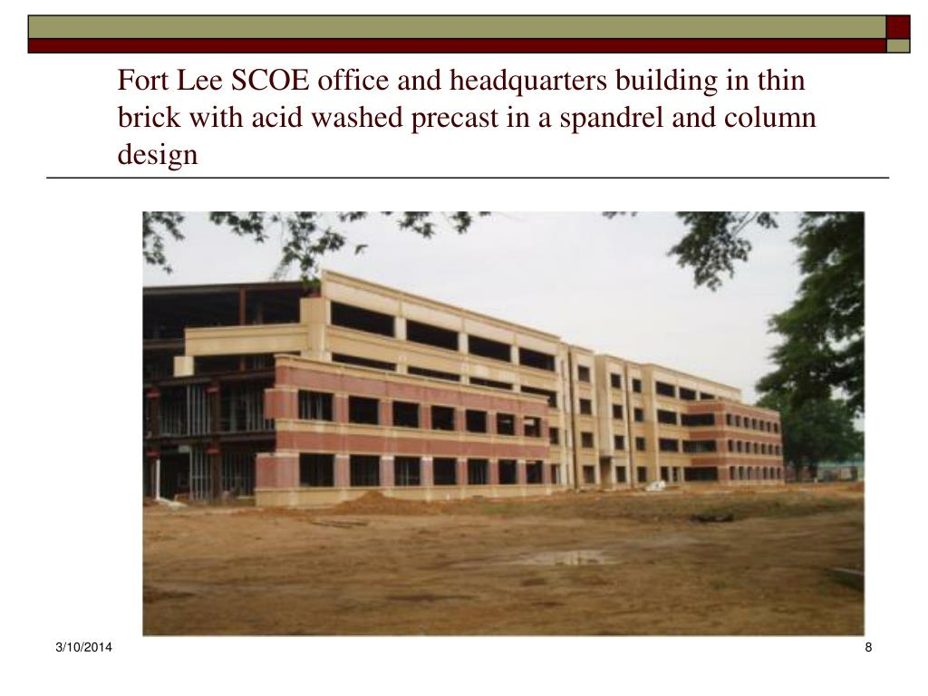 Fort Lee SCOE office and headquarters building in thin brick with acid washed precast in a spandrel and column design