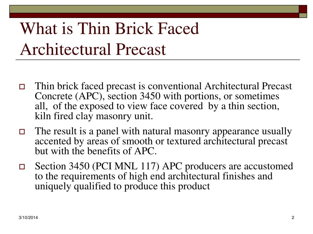 What is Thin Brick Faced Architectural Precast