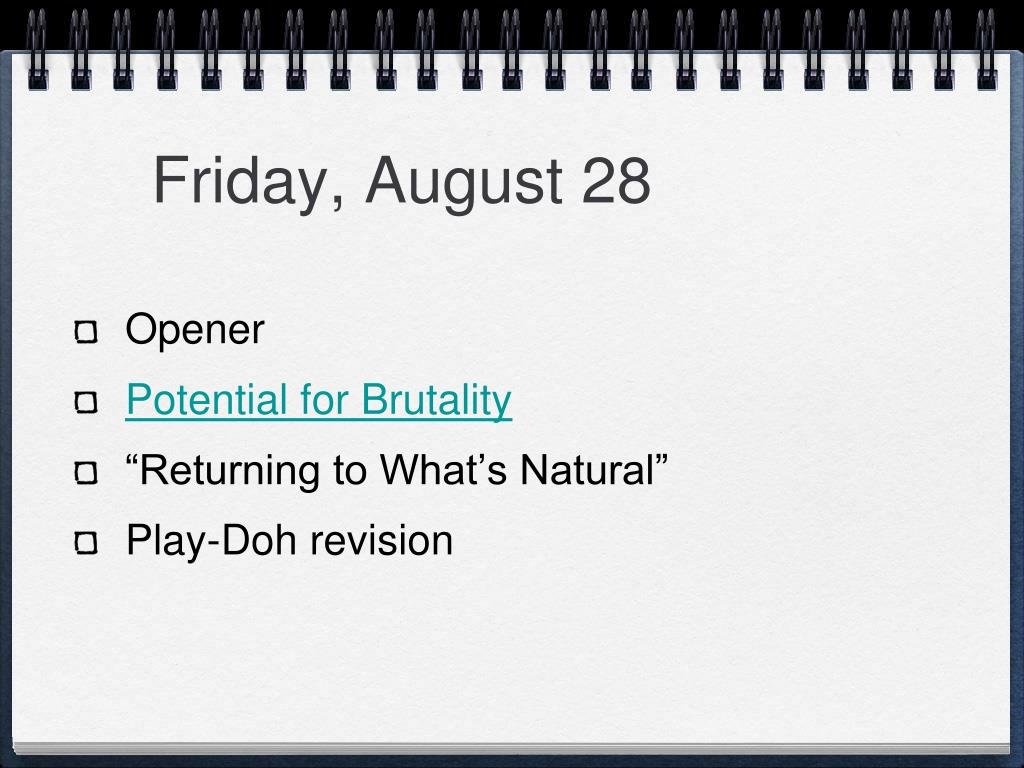 Friday, August 28