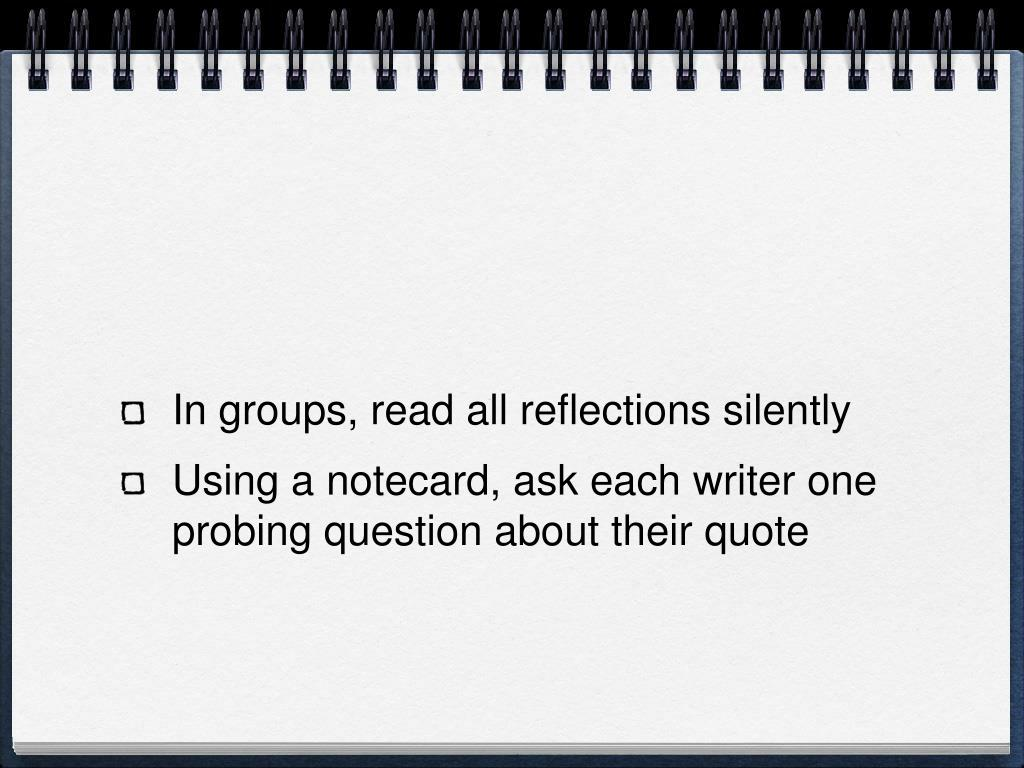 In groups, read all reflections silently