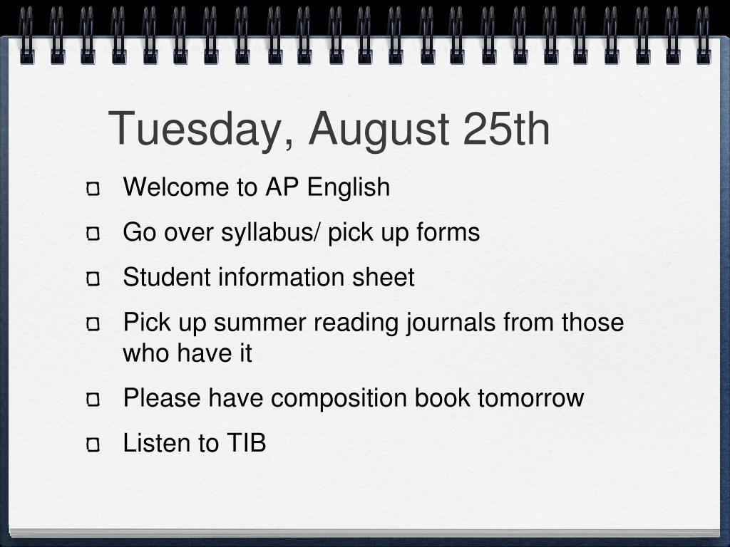 Tuesday, August 25th