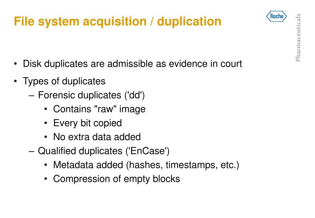 File system acquisition / duplication