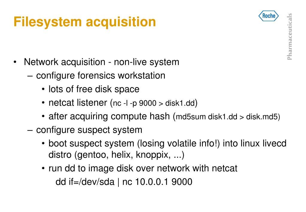 Filesystem acquisition