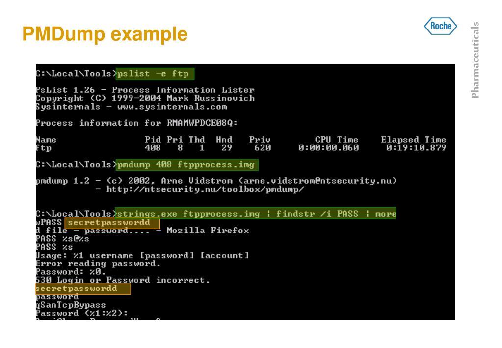 PMDump example