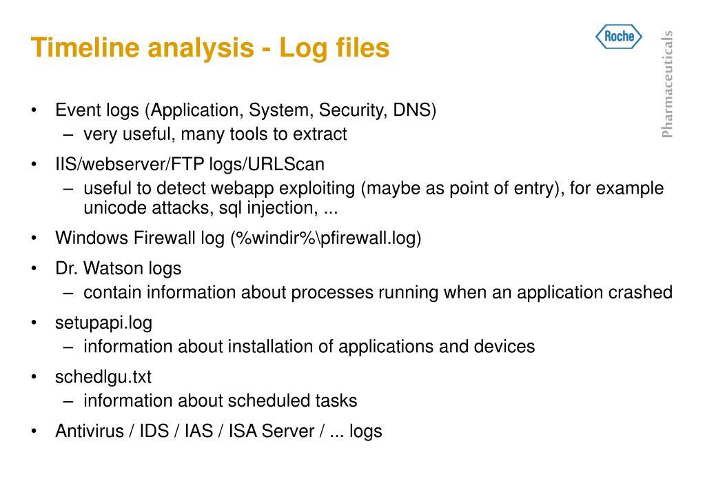 Timeline analysis - Log files