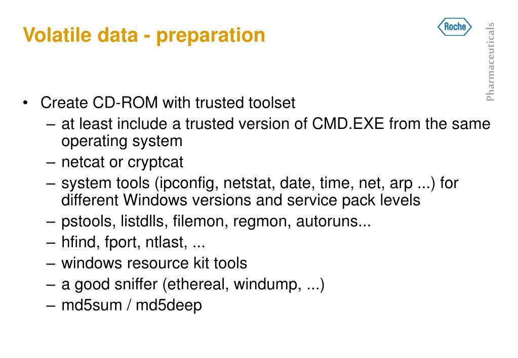 Volatile data - preparation