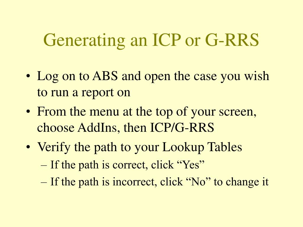 Generating an ICP or G-RRS