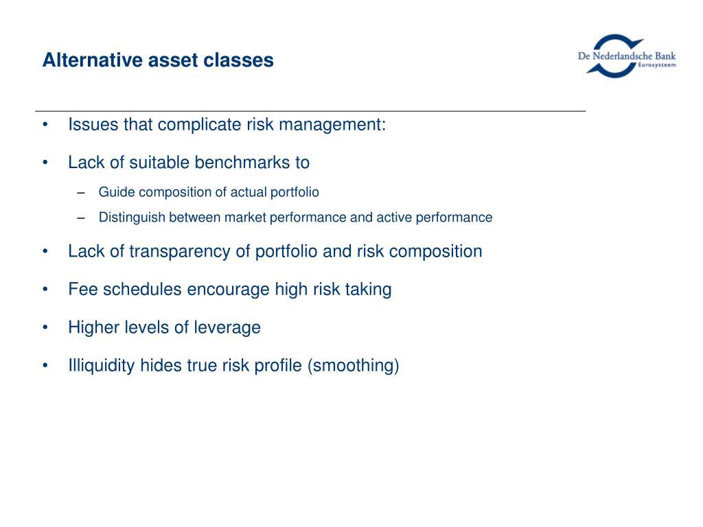 Alternative asset classes