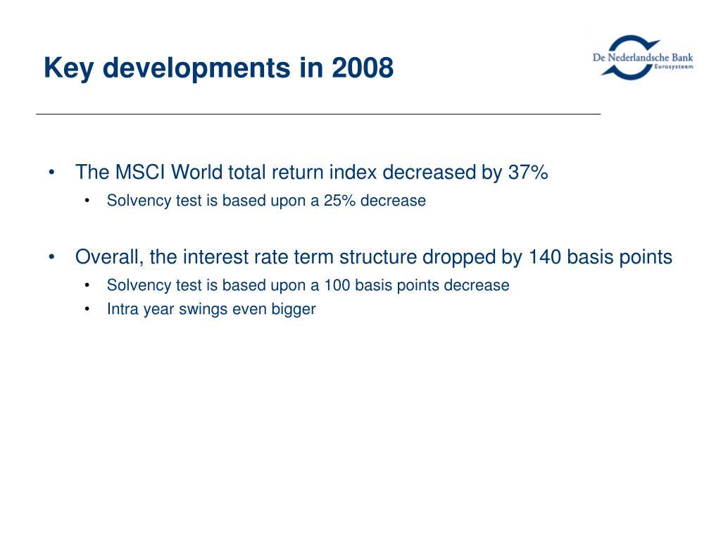 Key developments in 2008