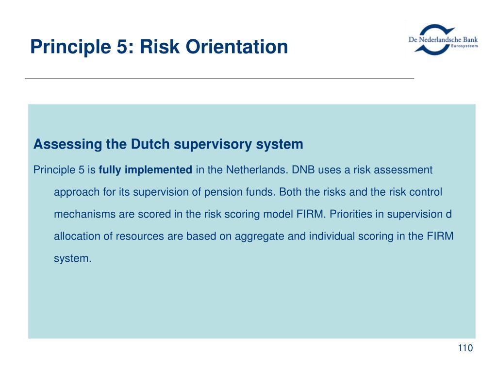 Principle 5: Risk Orientation