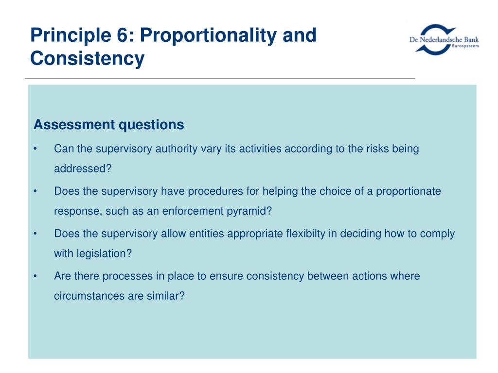 Principle 6: Proportionality and Consistency