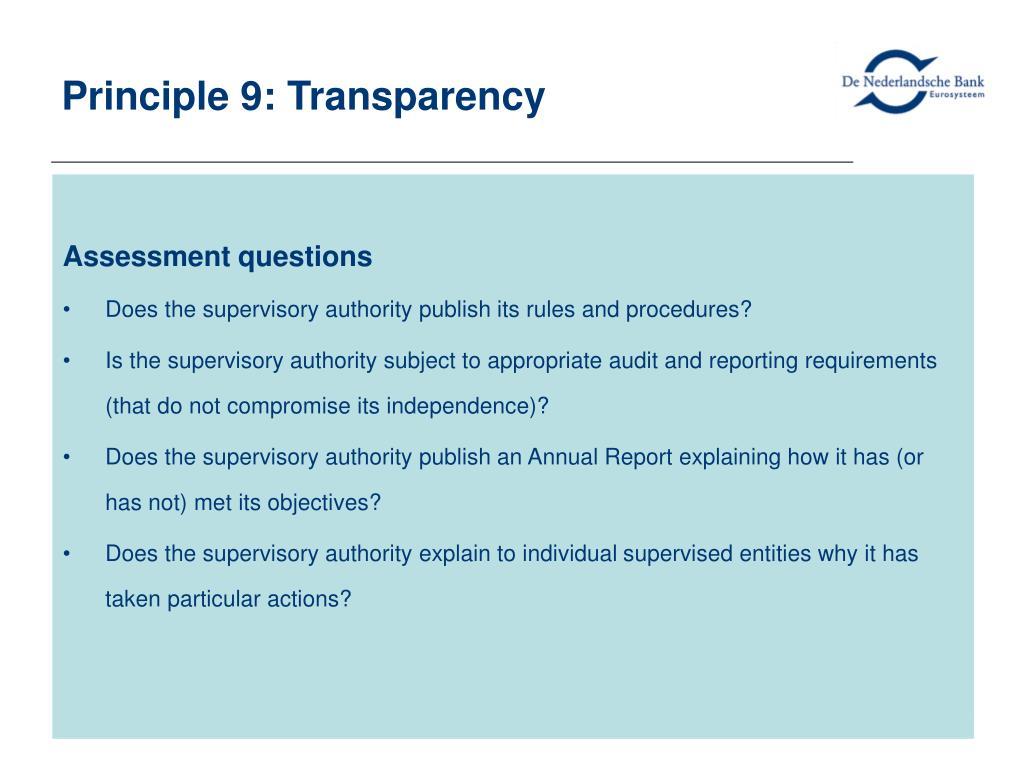 Principle 9: Transparency