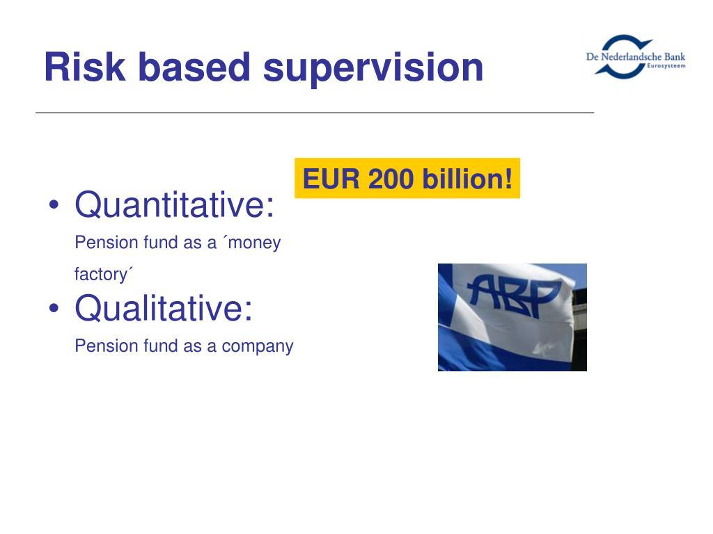 Risk based supervision