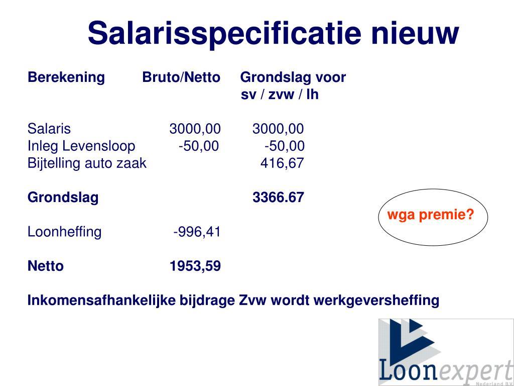 Salarisspecificatie nieuw