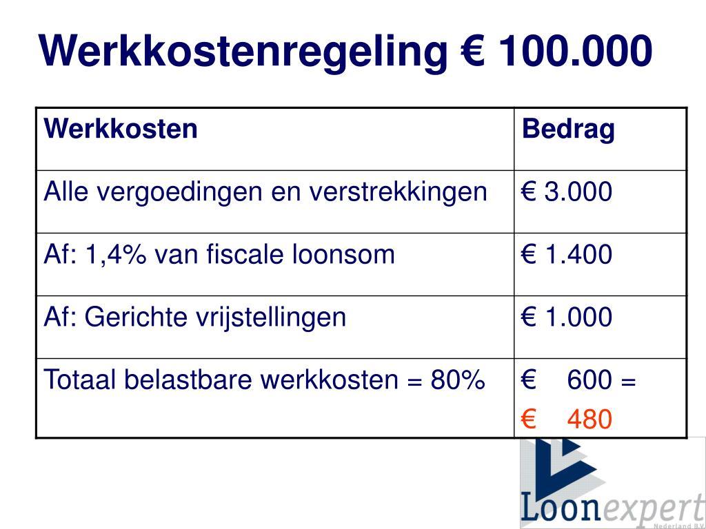 Werkkostenregeling € 100.000