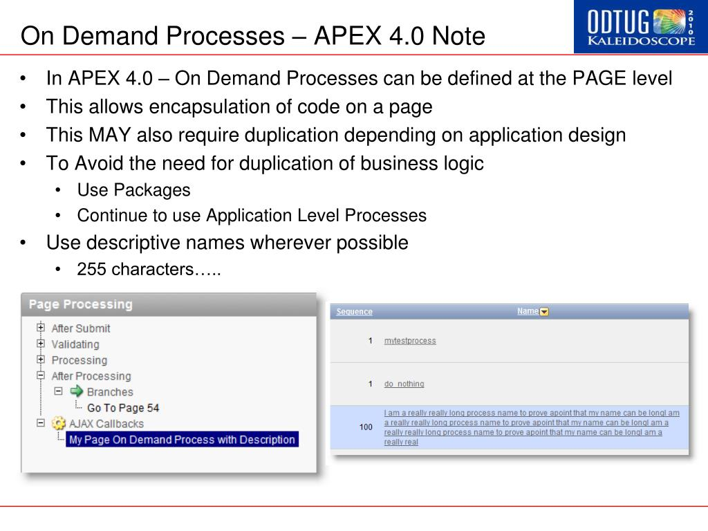 On Demand Processes – APEX 4.0 Note