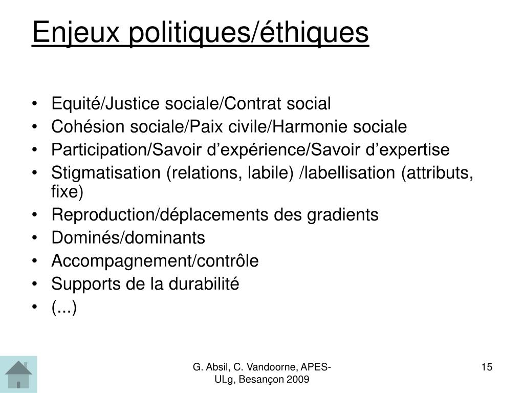 Enjeux politiques/éthiques