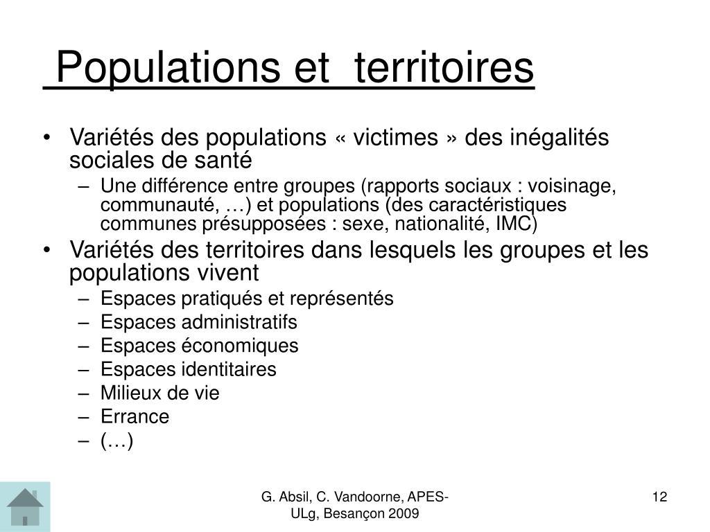 Populations et  territoires